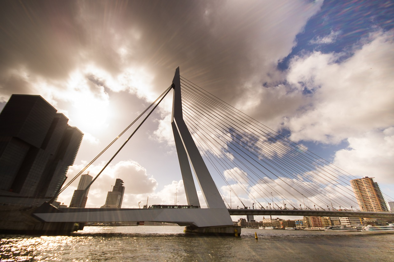rotterdam, the netherlands, insiders guide of rotterdam, tips, travel guide, city guide, erasmusbrug in Rotterdam with skyline