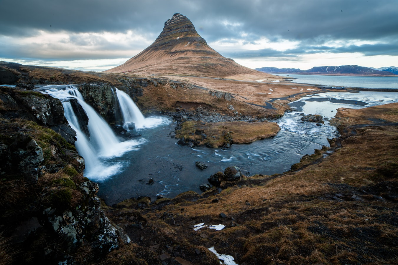 amazing landscape in iceland, waterfalls with mountains and lakes, destinations to visit in europe