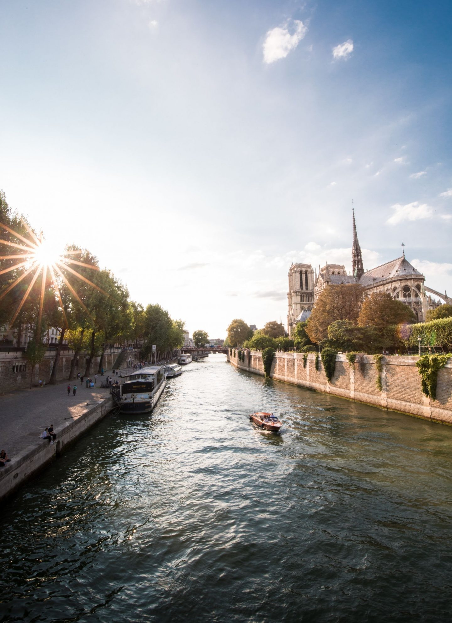 seine, sunrise, sunset, notre dame, paris, city, guide, boat, buildings