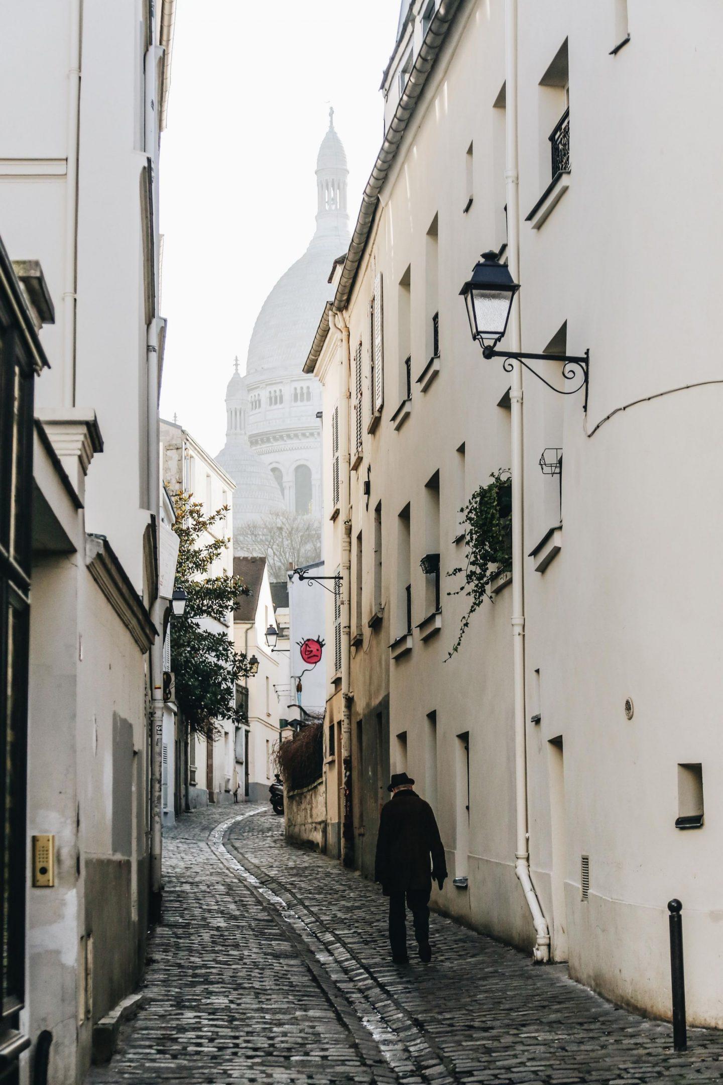 paris, montmartre, sacré-coeur, buildings, street, man, view