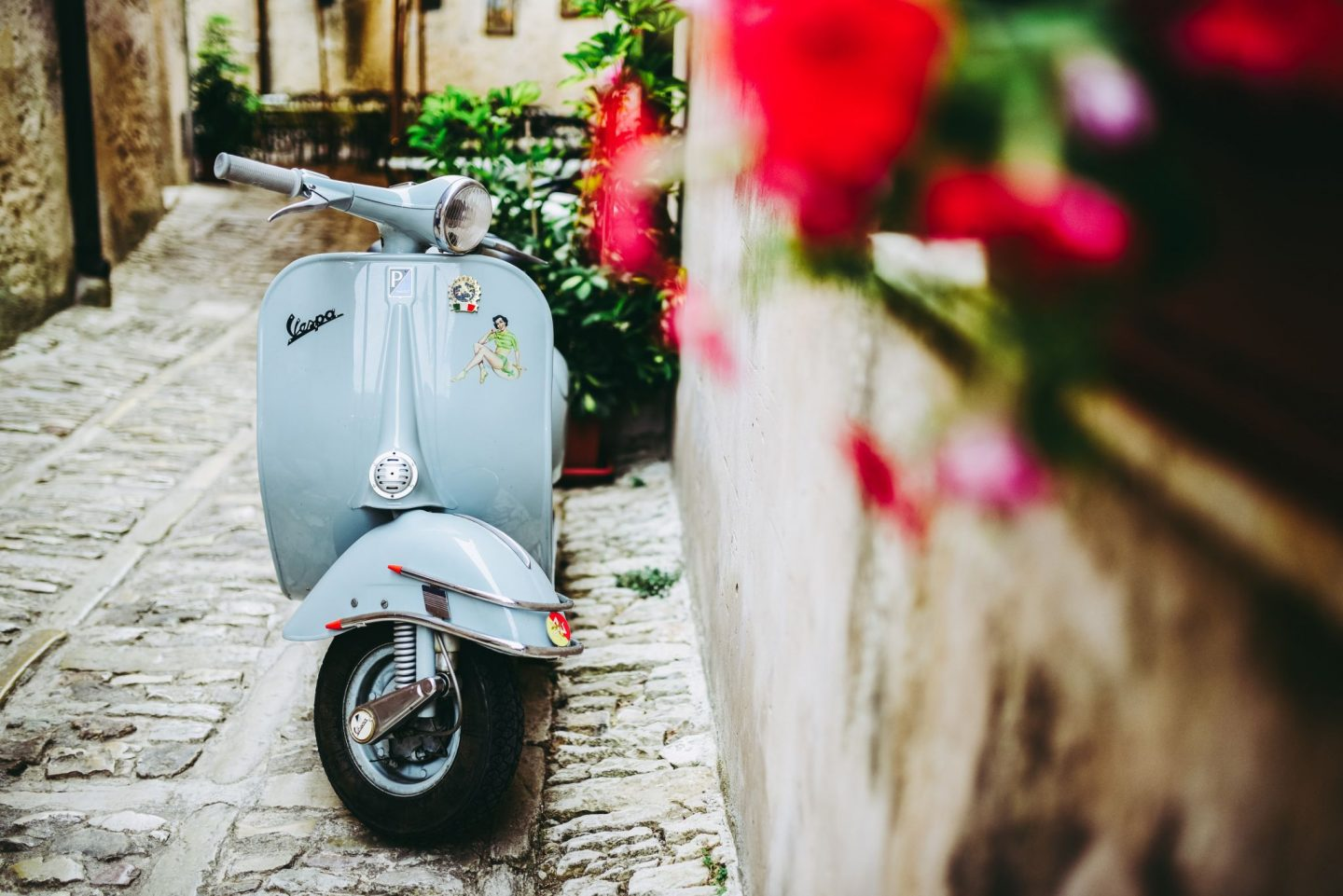 vespa, scooter, street, flowers, traveling, explore