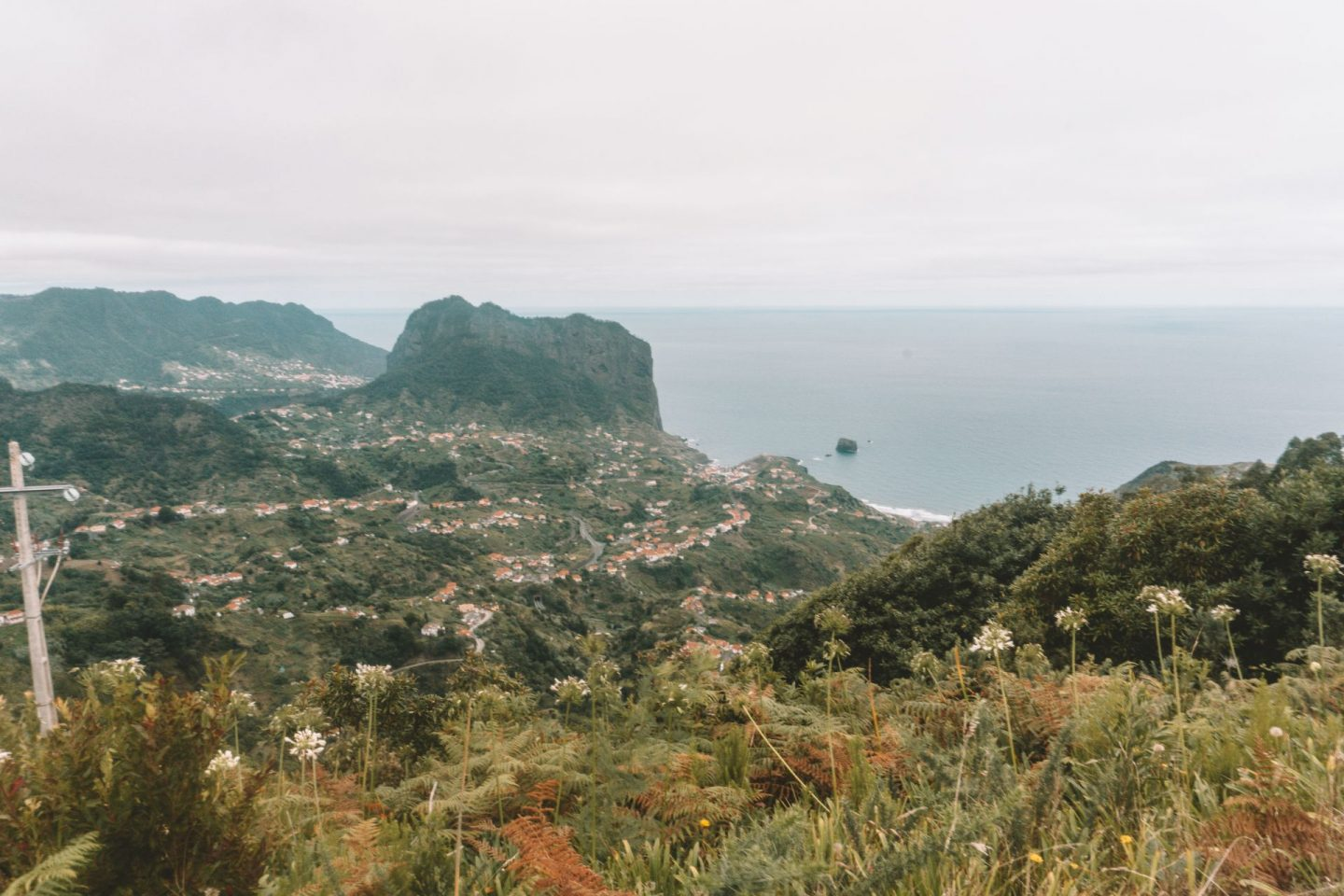 view over the island madeira with villages and the ocean