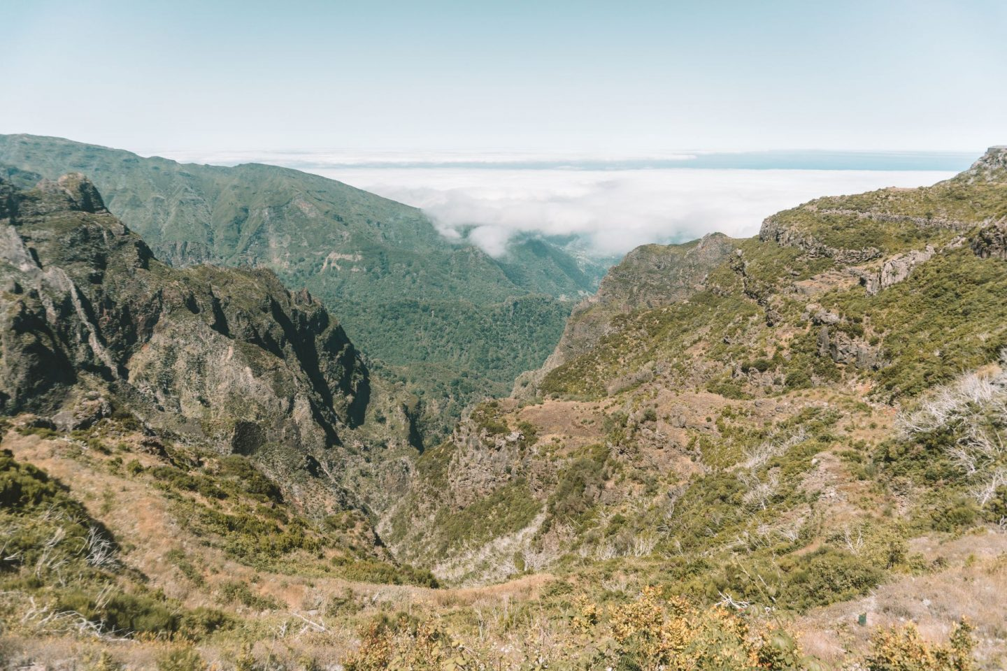 mountain view in madeira, clouds, above the clouds, madeira photo diary
