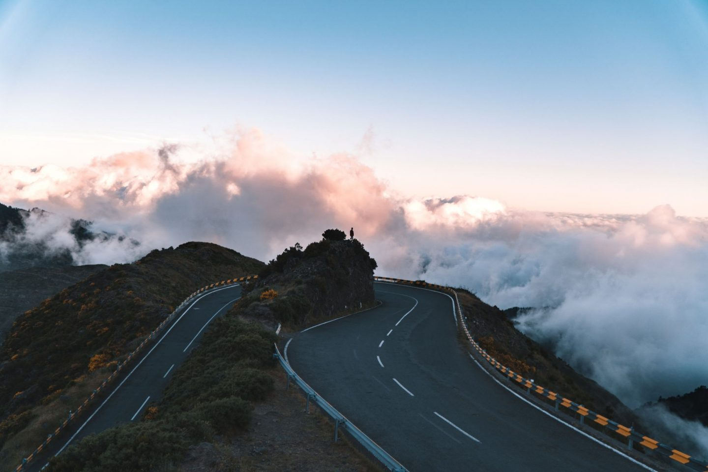 road, mountain, view, clouds, madeira, portugal