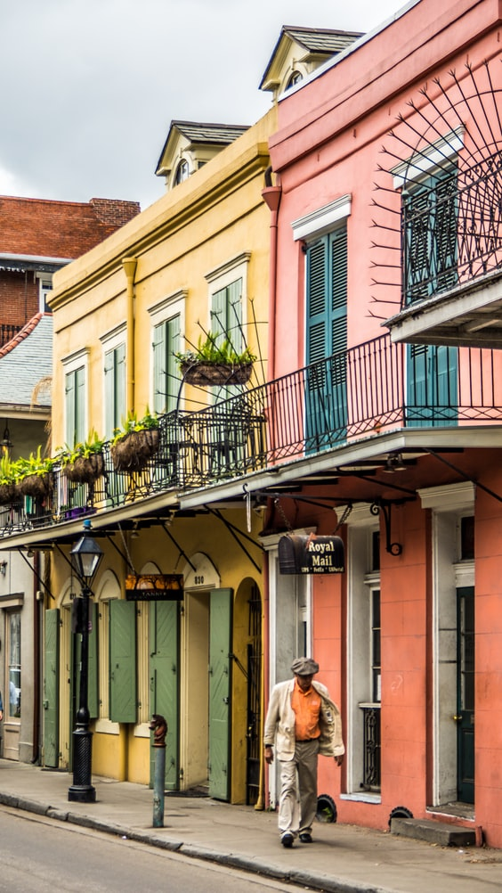 colorful streets in new orleans in the united states of america
