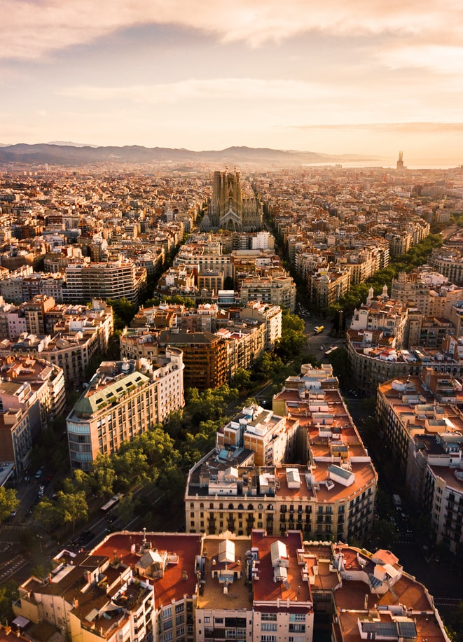 view over the city of barcelona in spain during sunset