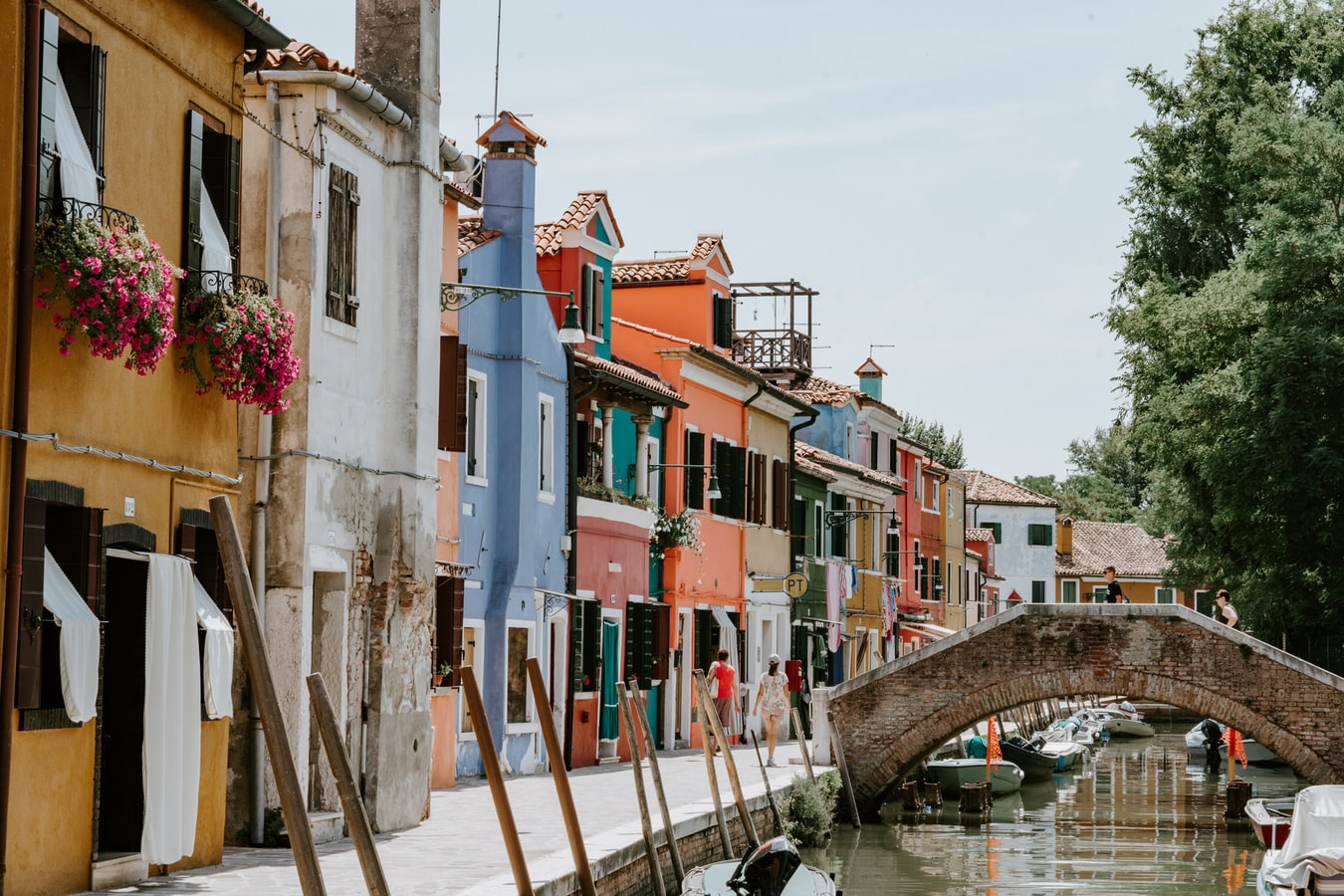 burona in venice, village in italy, colored and pastel houses near a canal