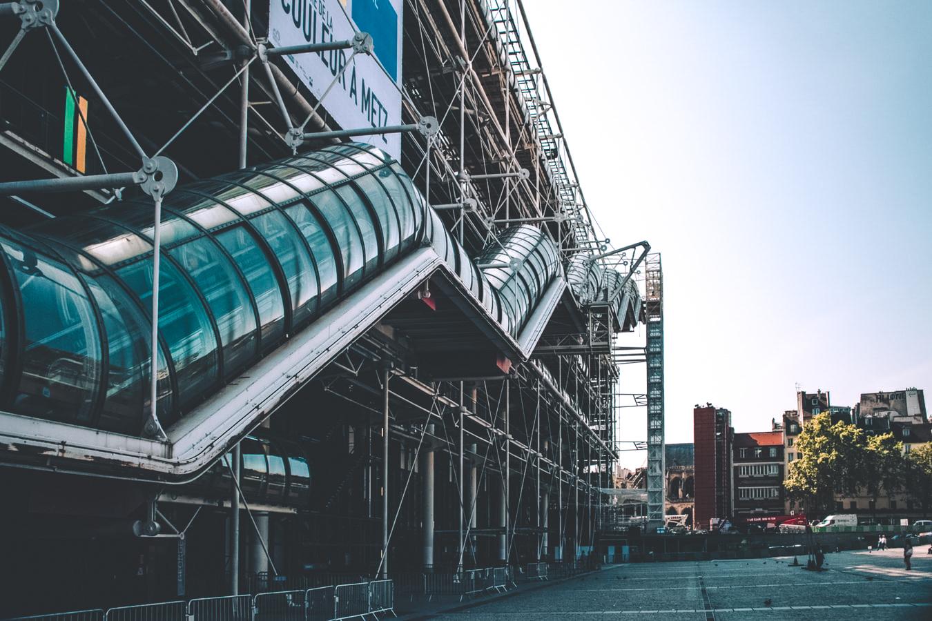 centre pompidou in paris, le marais neighborhood, arrondissement, museum, modern