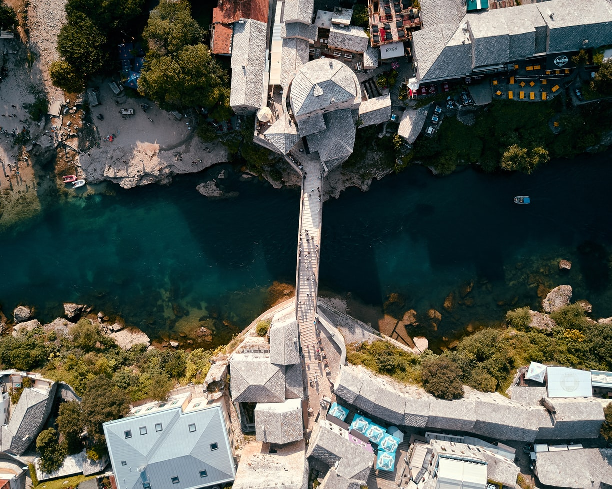 mostar in bosnia and herzegovina, bridge and river, fairy tale villages