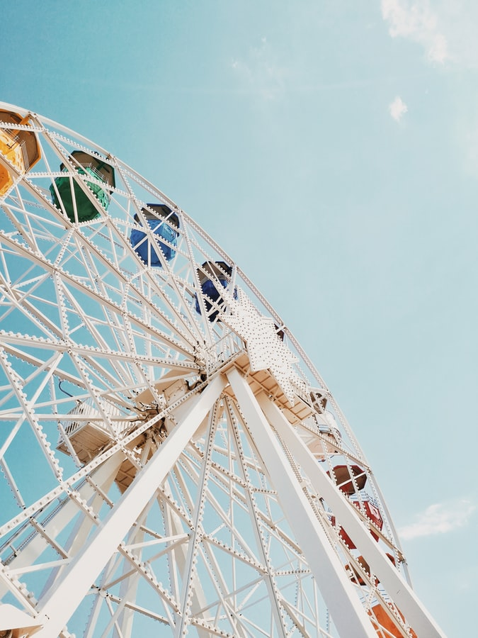 the ferris wheel in barcelona, spain, amusement parc, barcelona quotes and instagram captions