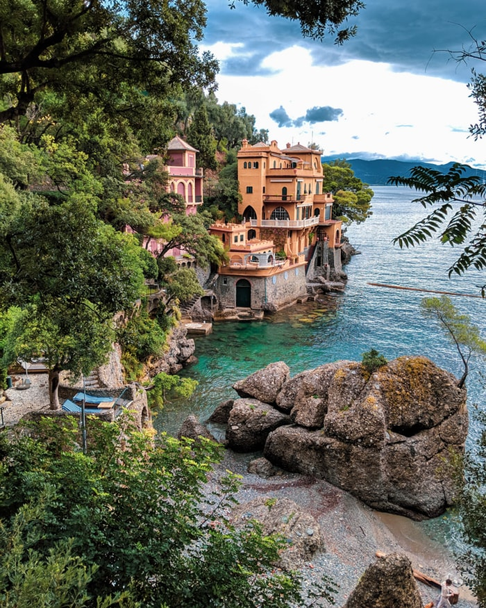 view over portofino in italy with the ocean, fairy tale villages to visit worldwide
