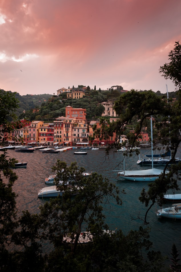 portofino in italy, view over the village and the ocean during sunset