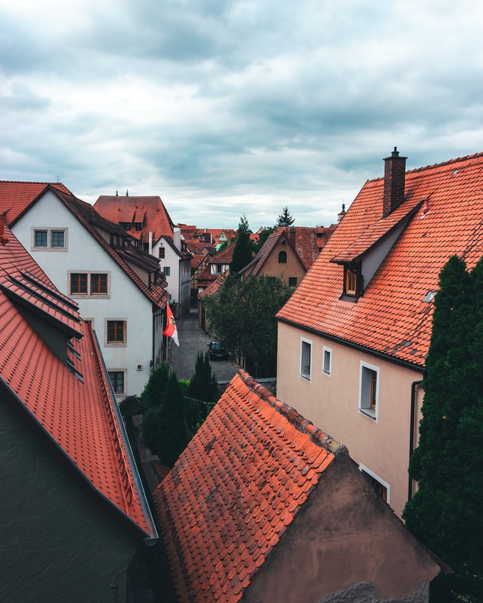 rothenburg village in germany, red houses in the village, fairy tale villages