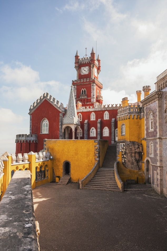the colorful village sintra in portugal near lisbon, colorful houses and buildings