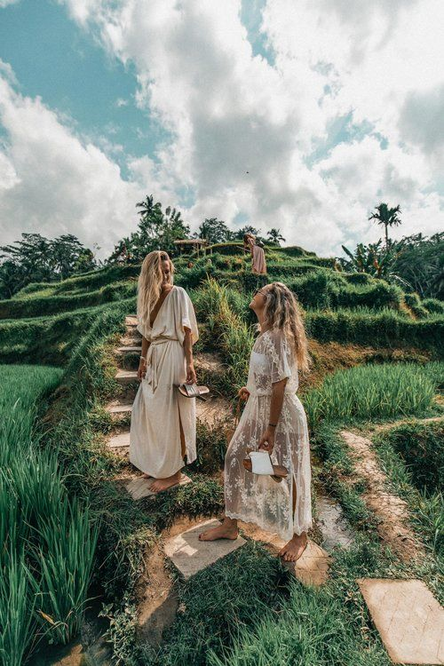 girls on a walk in ubud, blue sky and green nature, bali travel photography, indonesia travel inspiration