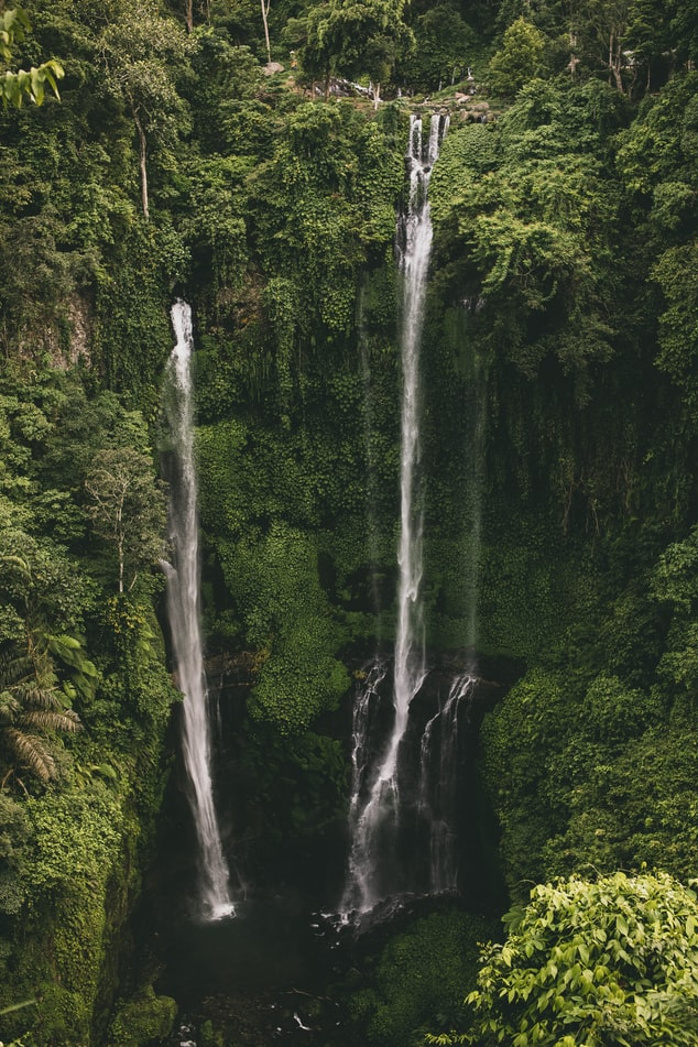 waterfall in bali, indonesian island, travel photography