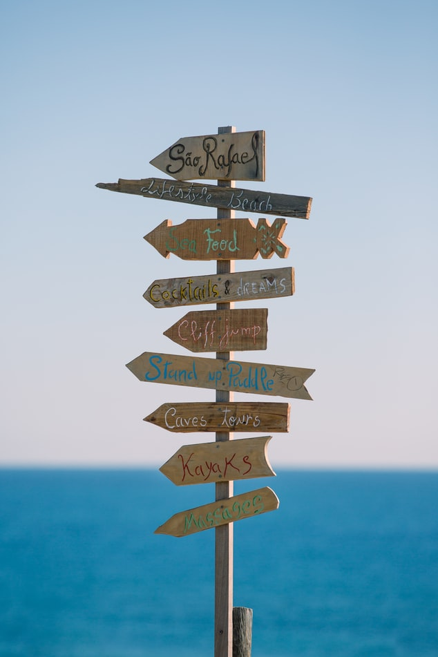signs about destinations to visit, slow travelling as a new way of travelling in the future
