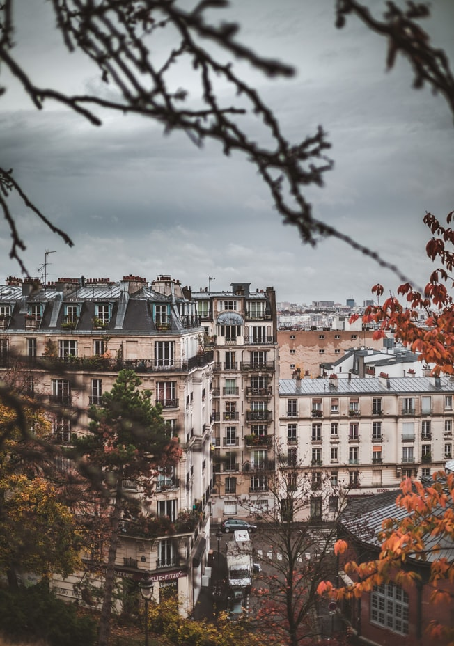 view over the city in paris with houses, paris travel photography, france travel