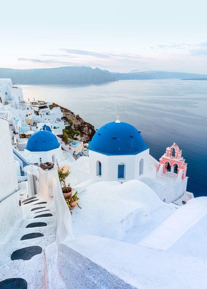 view over the ocean and santorini in greece