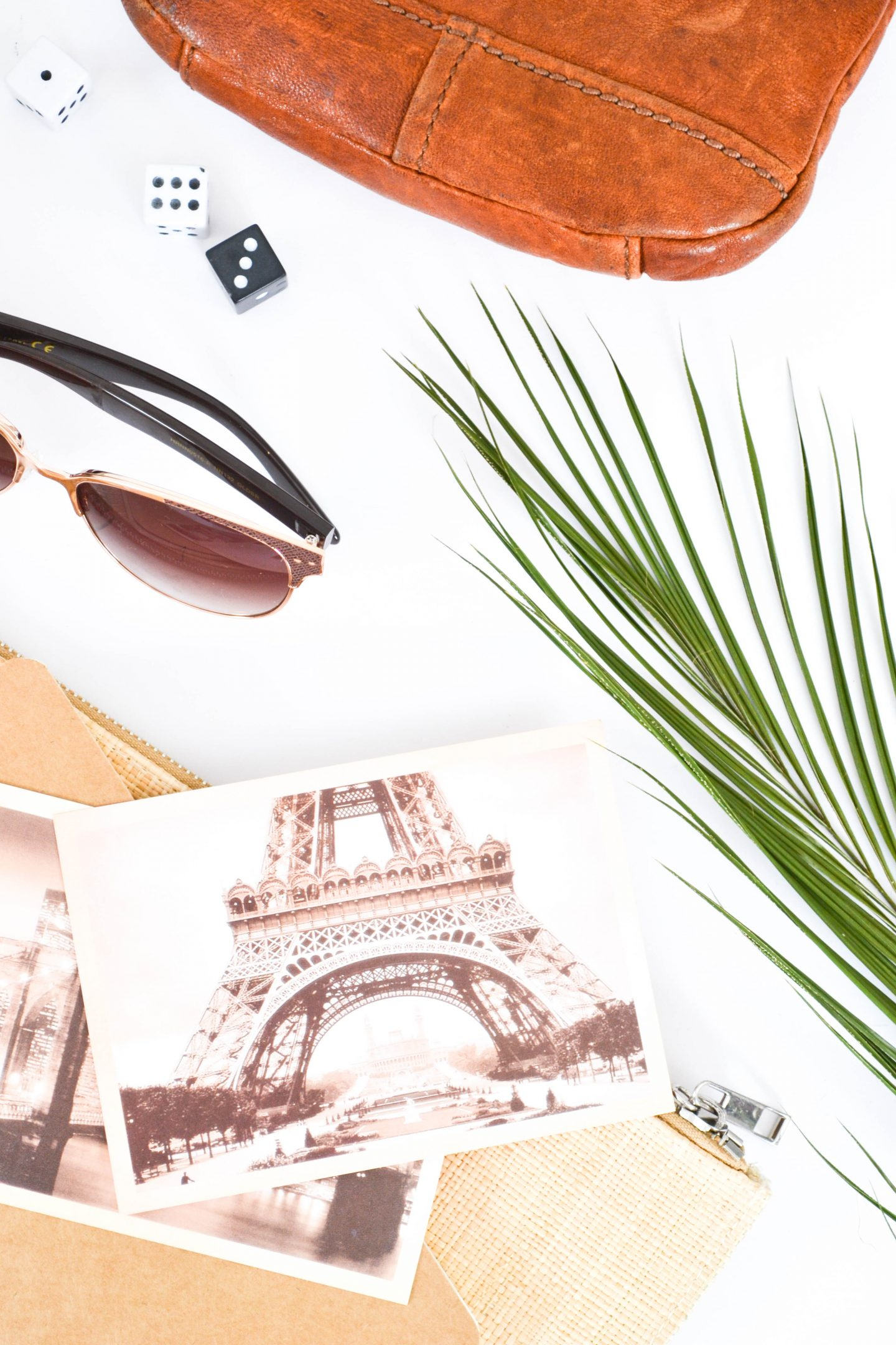 a flatlay with a plant leaf, a bag, sunglasses and pictures of the eiffeltower