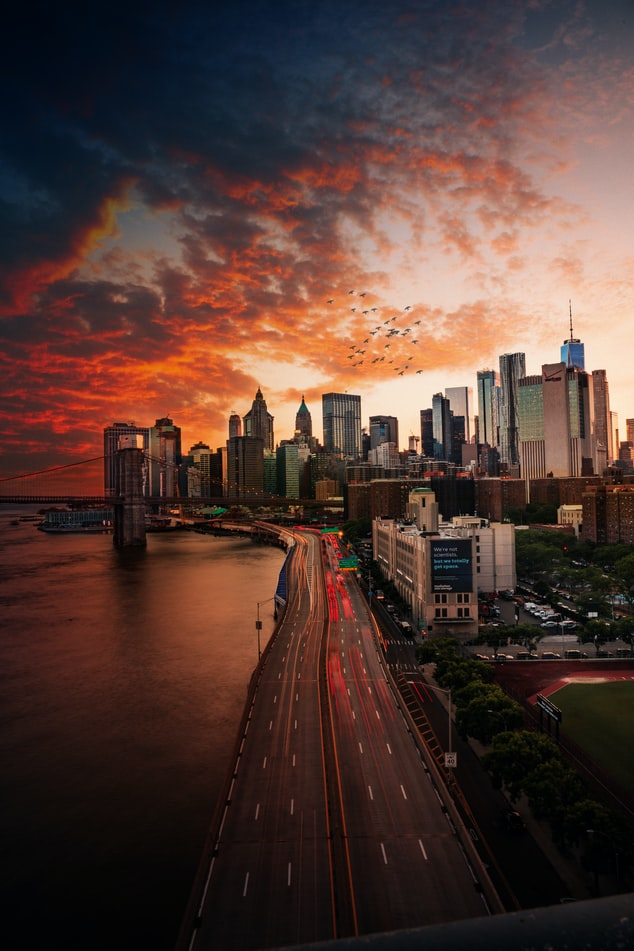 sunset over new york city, the skyline over new york city