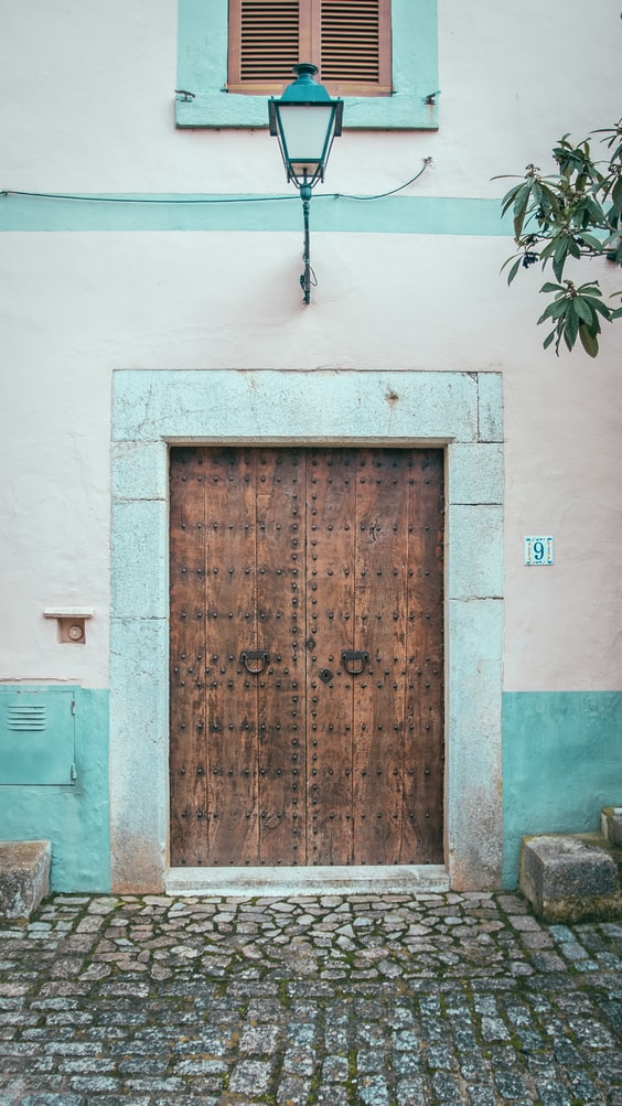 a blue wall and door on the spanish island madeira