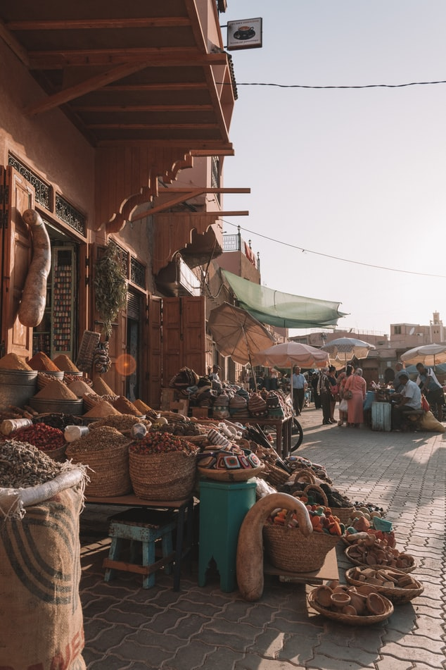 a local market in somewhere in the world where they sell local products