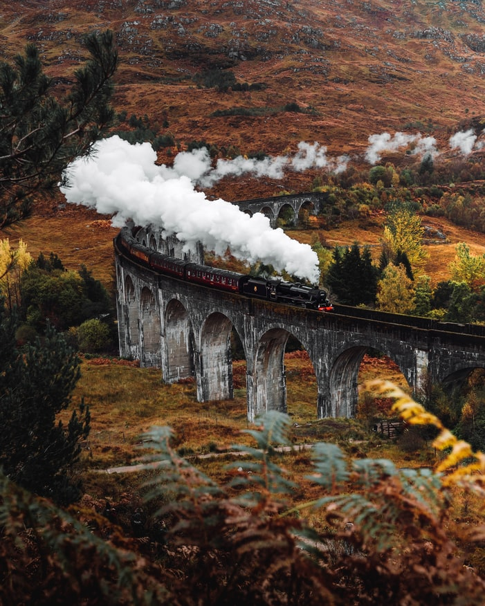 the harry potter train in the highlands of scotland