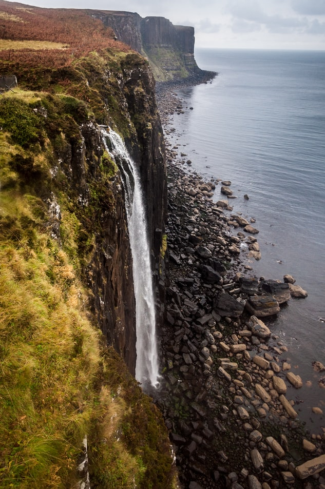 a waterfall in the island of skye in ireland