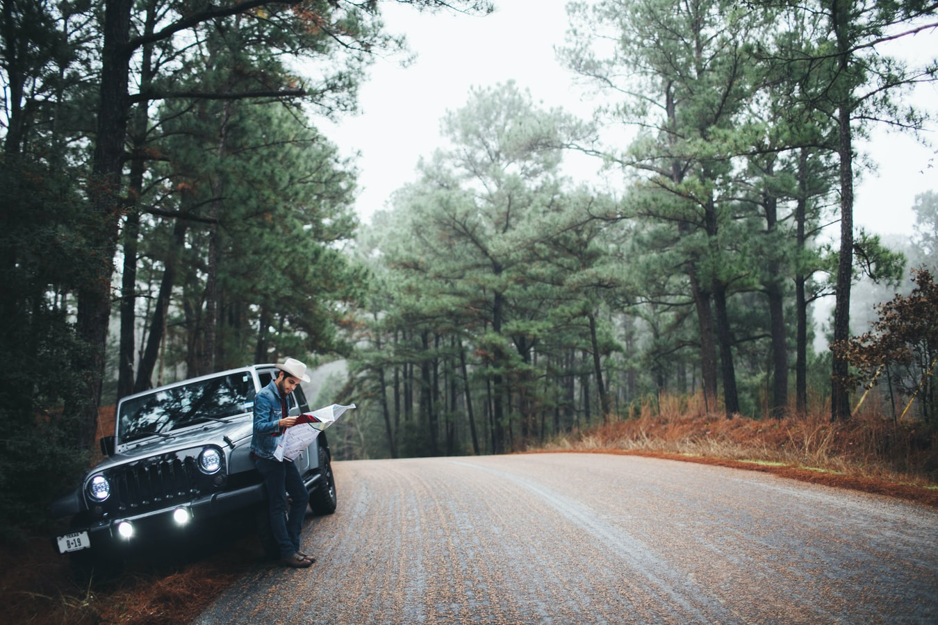 a road trip in europe, a road trip through the forest in a jeep
