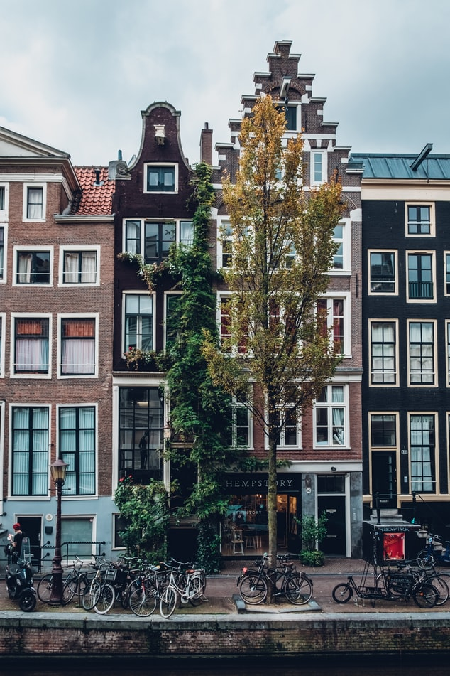 houses in amsterdam next to the canals in the netherlands