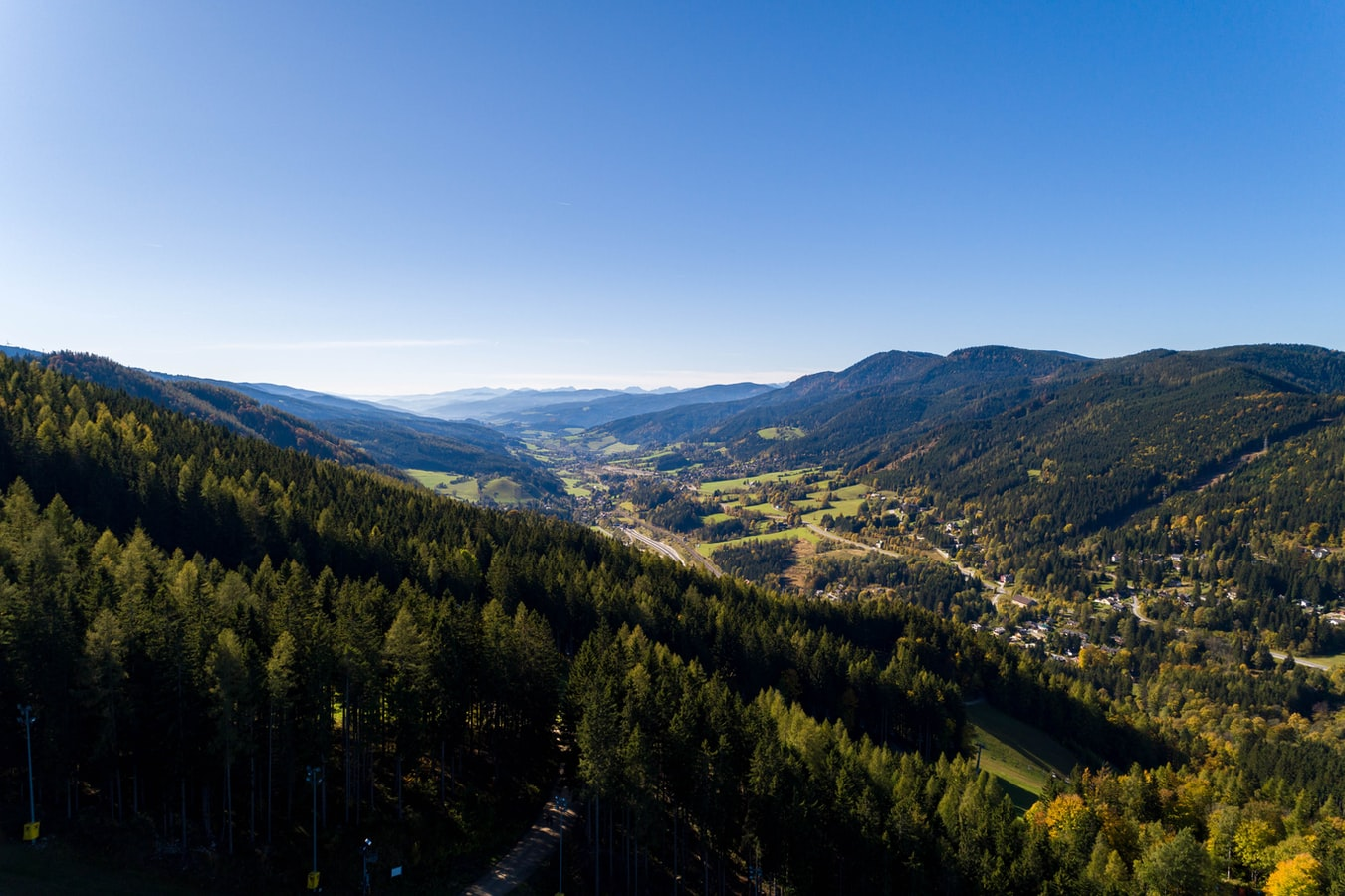the semmering pass in austria, view over the mountains and village in austria