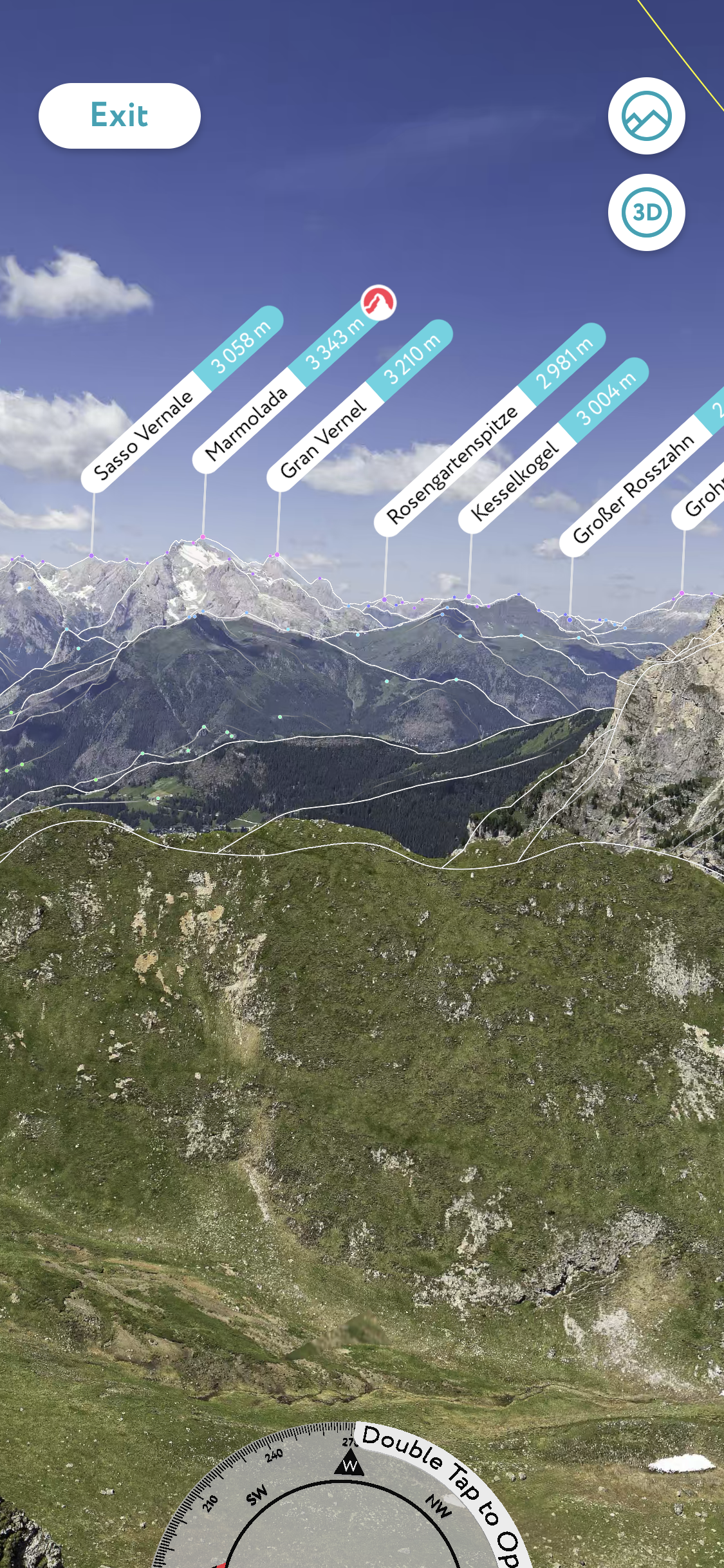 the peak visor app on android and iphone, a view on different mountains