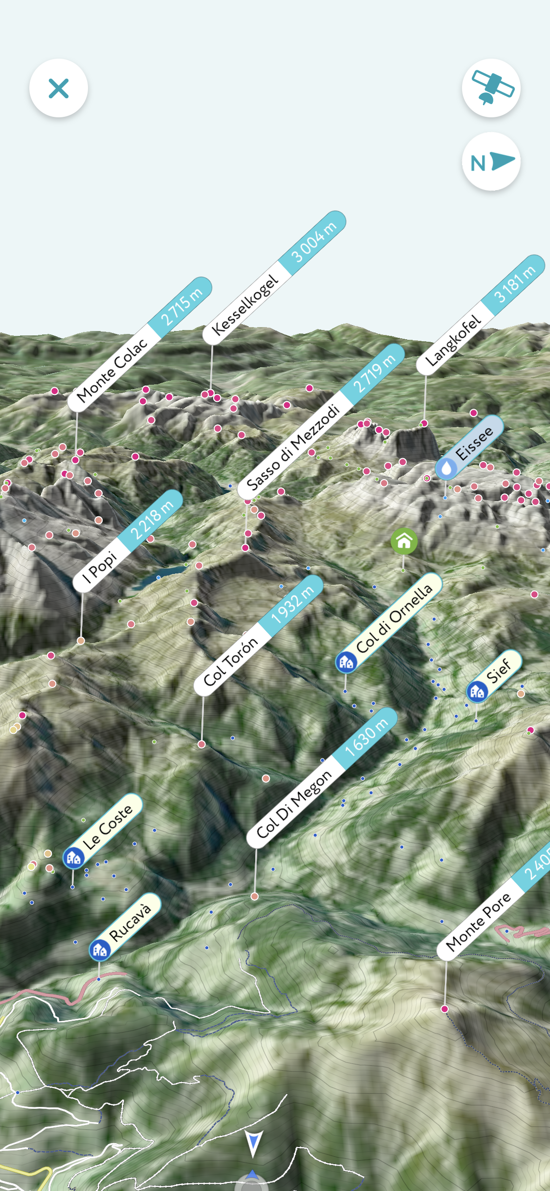 the peak visor app on android and iphone, a 3D view on the different mountains