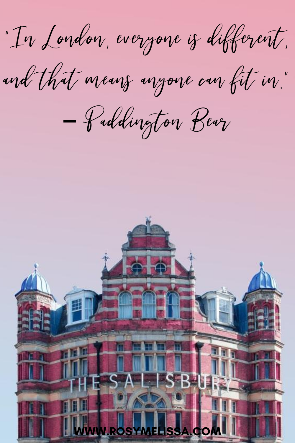 a red building during sunset with a pink sky, london quote from paddington bear