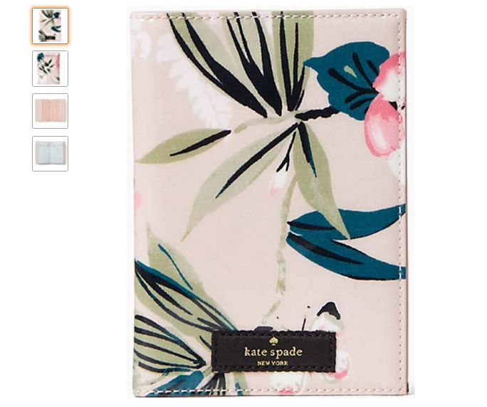 kate spade passport holder, beige holder with botanical flowers on it