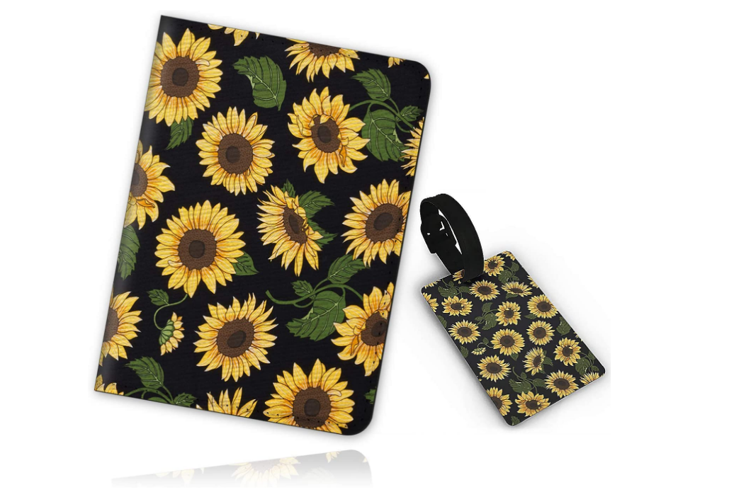 a sunflower travel case, passport holder and luggage tag for female travellers