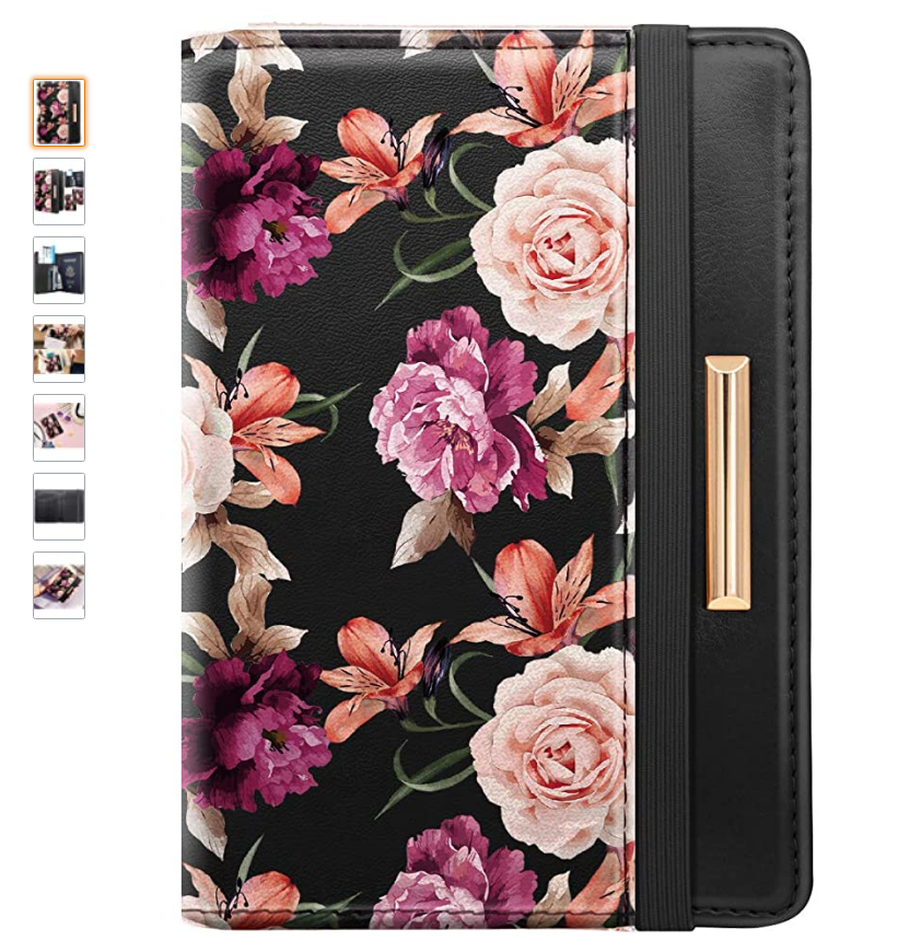 a colorful passport holder with flowers for travelling