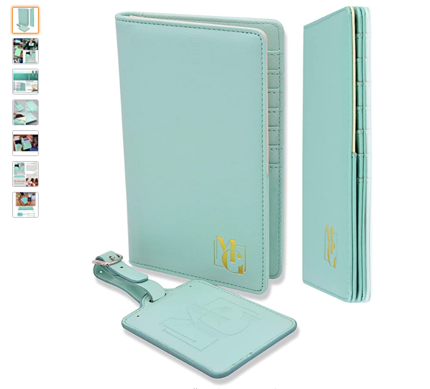 a blue or green passport set with passport holder and luggage tag