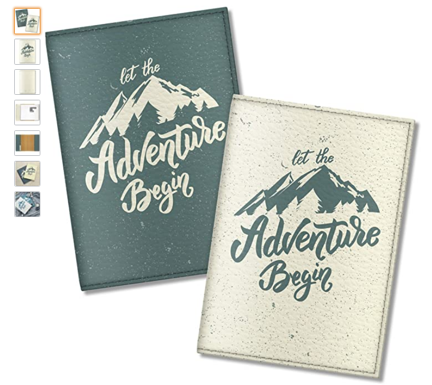 a travel case and passport holder with a quote and mountains for the adventurers
