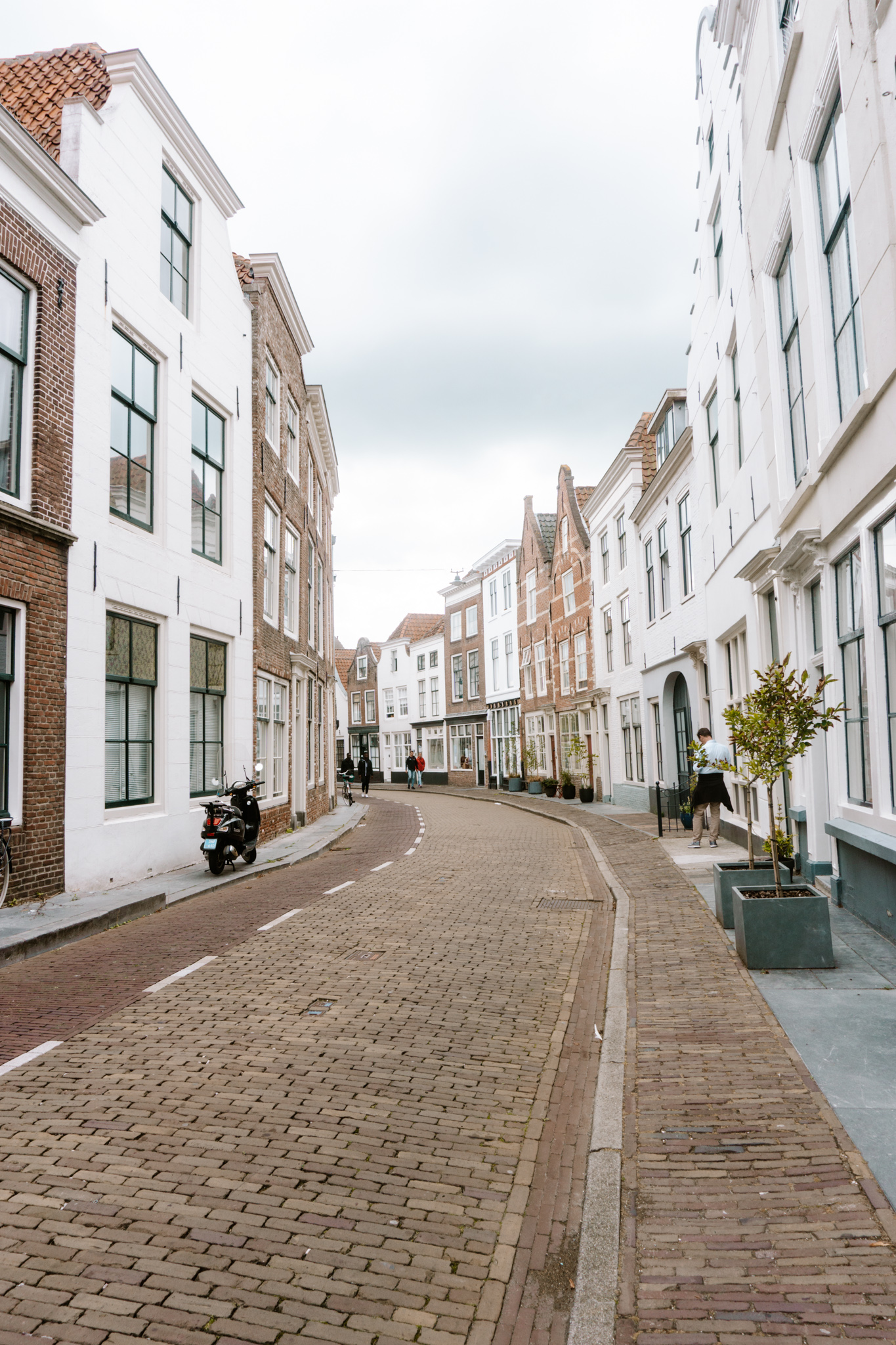 a street in middelburg with cute houses in black and brown