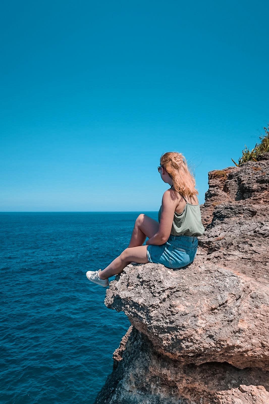 view from a rock near broken beach on nusa penida in bali