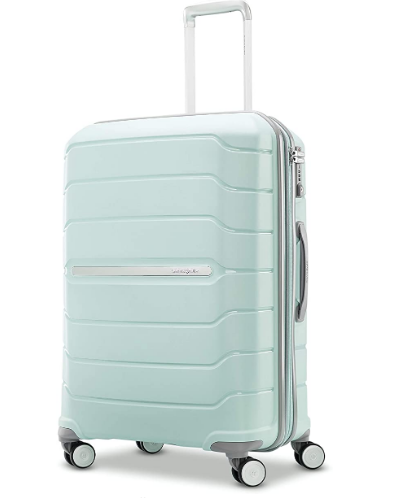 the mint colored suitcase, travel suitcase, gift guide