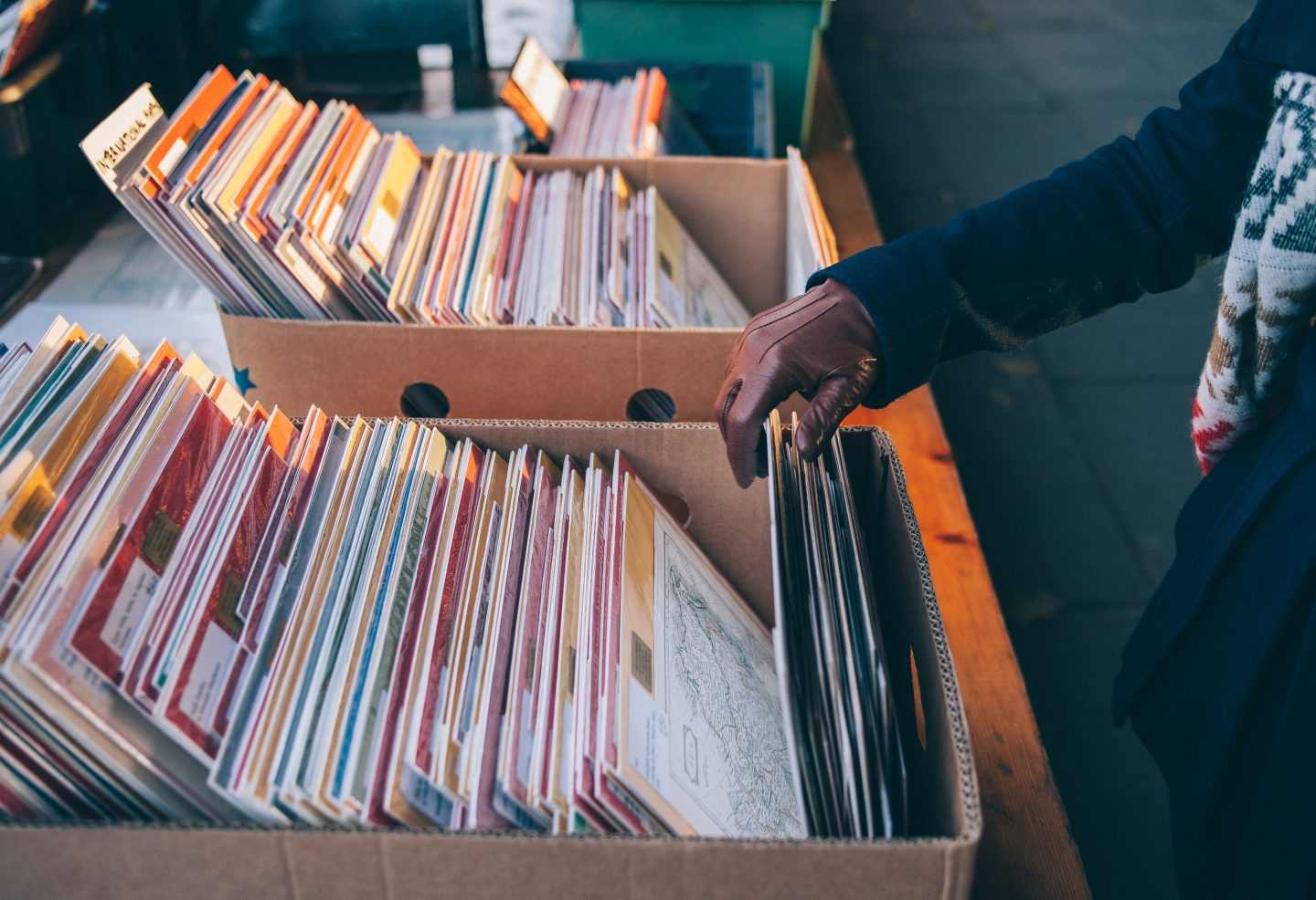 old records in a vintage store, vintage shopping, start with vintage shopping