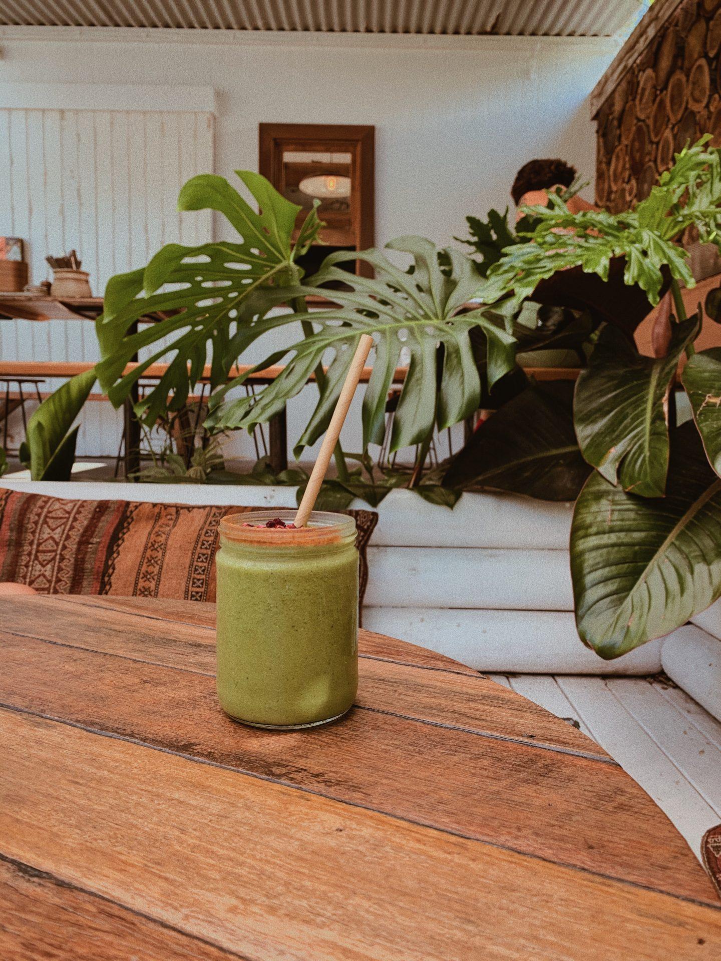 a green juice in a tropical surrounding, vegan and vegetarian restaurants, travel tips for vegans