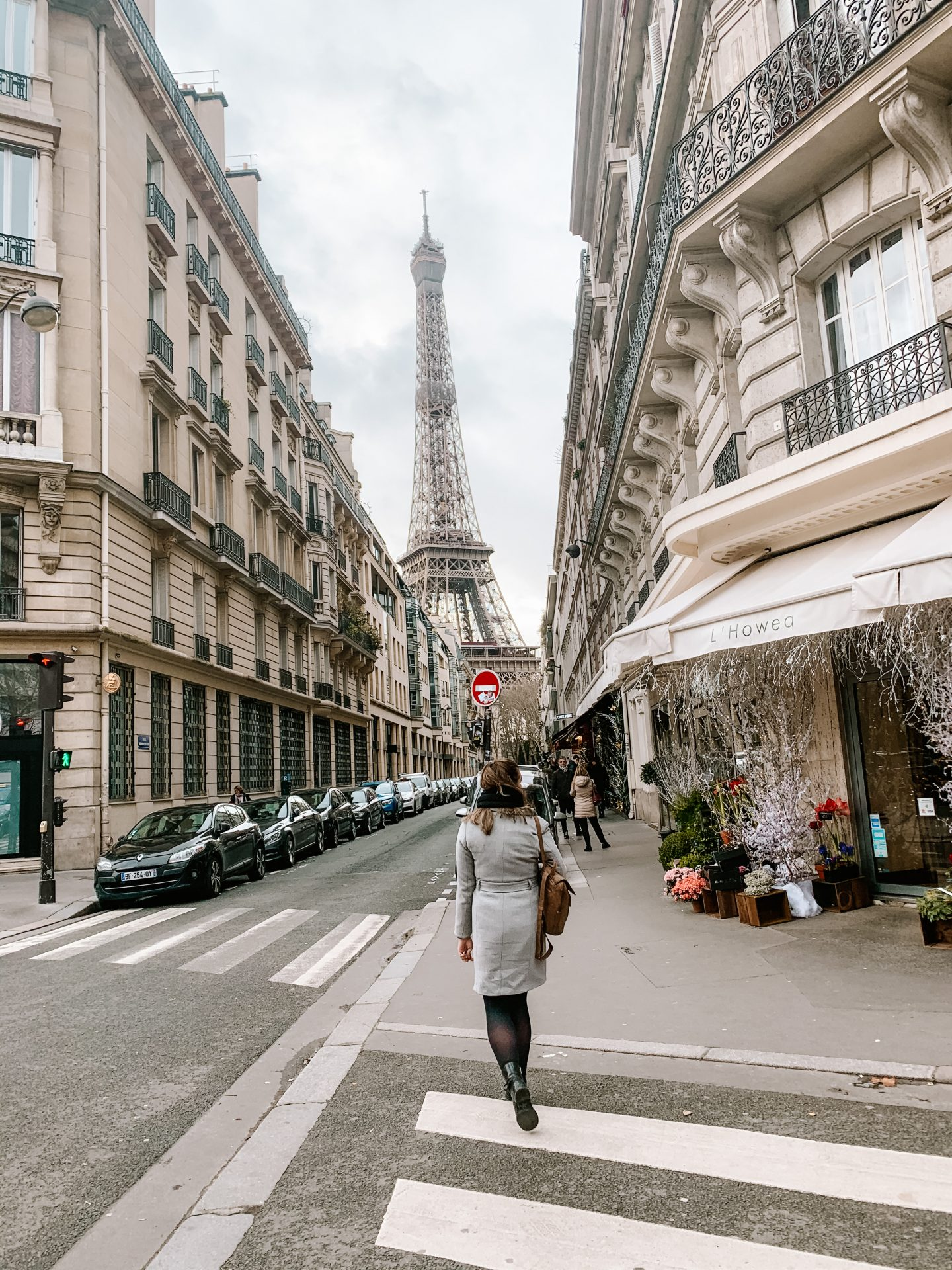 street in paris with a view on the eiffel tower, paris city