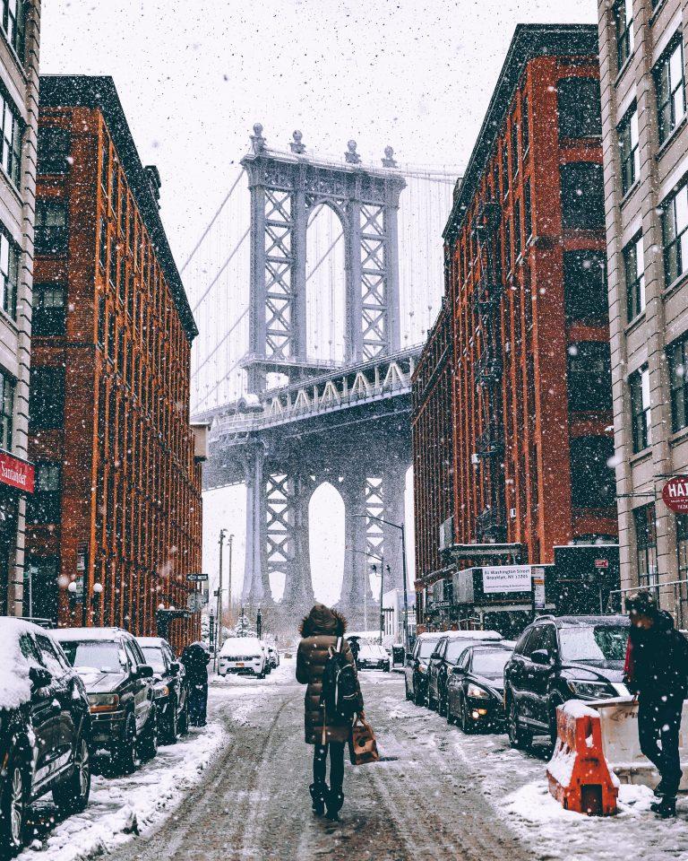 snowy brooklyn and brooklyn bridge in new york city, gossip girl quotes, gossip girl instagram captions