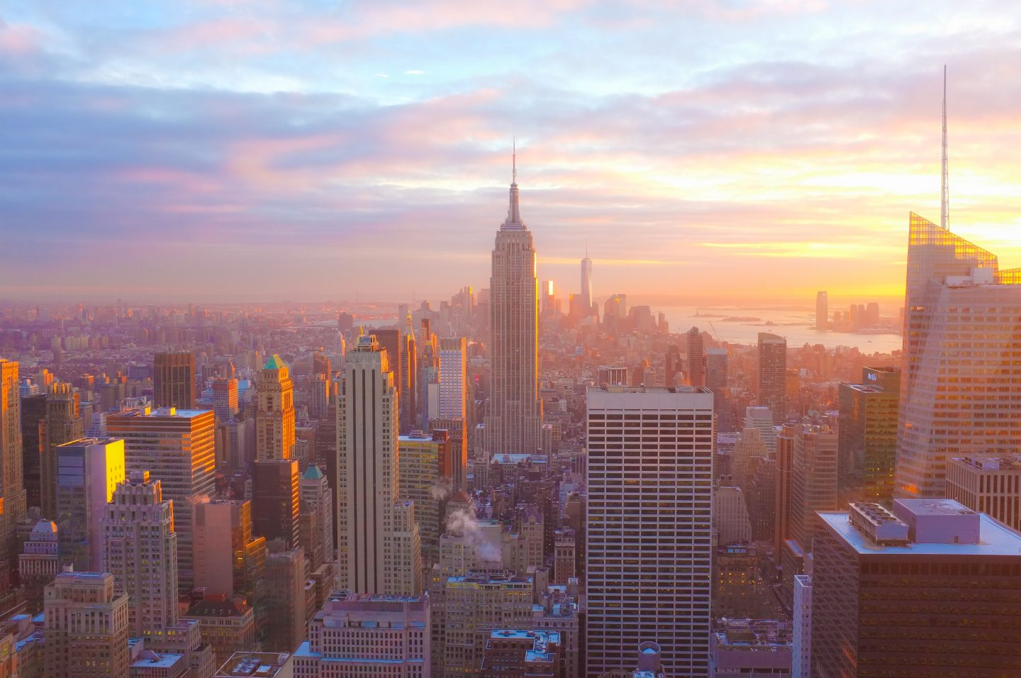 gorgeous sunset colors over new york city