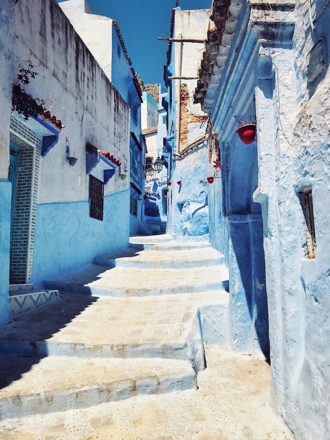 the blue village in morocco, stairs, blue houses