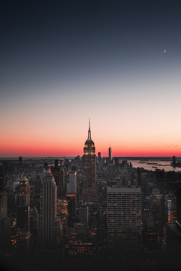 sunset picture over the skyline in new york city